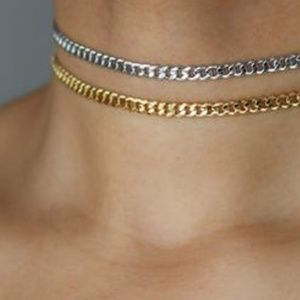 Plated Gold or silver curb chain choker necklace